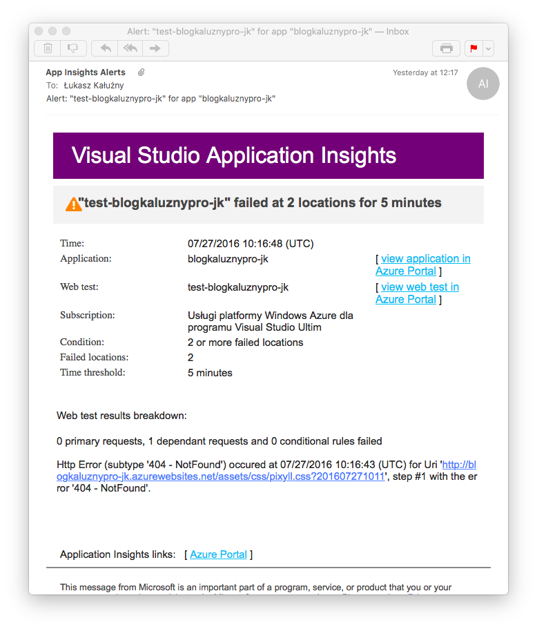 Powiadomienie z Visual Studio Application Insights